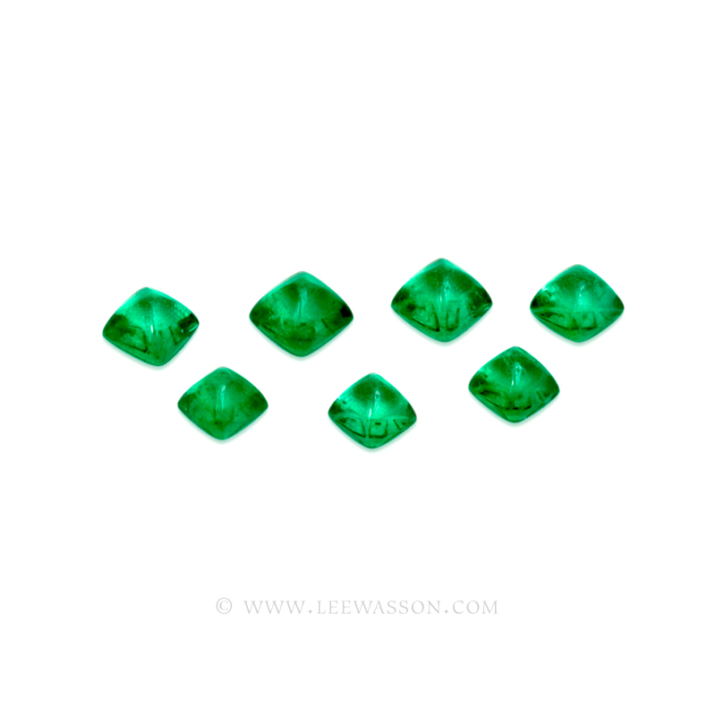 Colombian Emeralds, Sugarloaf cut Emeralds, Cabochon Cut Emeralds - leewasson.com - 10052 -1