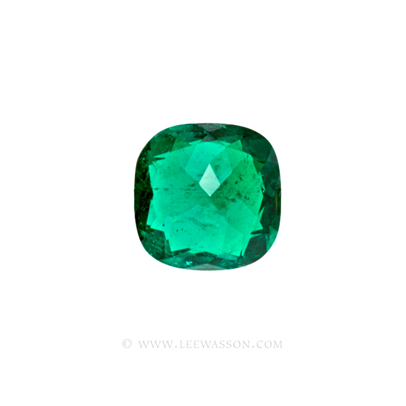 Colombian Emeralds Cushion Cut and set in 18k White Gold - leewasson.com - 10014 - 4