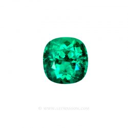 Colombian Emeralds, Cushion Cut Emeralds, set in 18k White Gold - leewasson.com - 10030