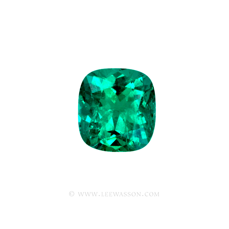 Colombian Emeralds, Cushion Cut Emeralds and set in 18k White Gold - leewasson.com - 10042 - 2
