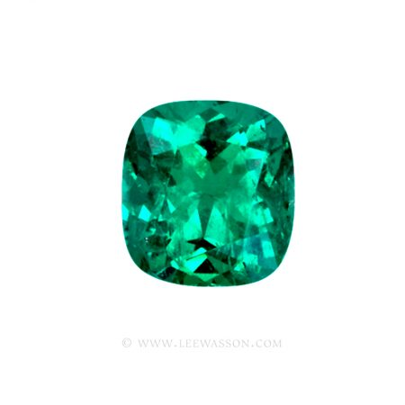 Colombian Emeralds, Cushion Cut Emeralds and set in 18k White Gold - leewasson.com - 10042 - 1