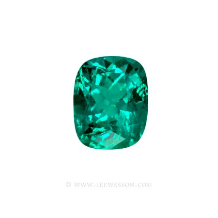 Colombian Emeralds Cushion Cut and set in 18k White Gold - leewasson.com - 1 - 10043