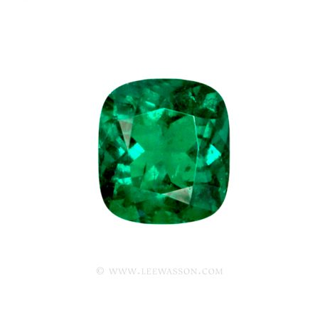 Colombian Emeralds Cushion Cut and set in 18k White Gold - leewasson.com - 1 - 10049