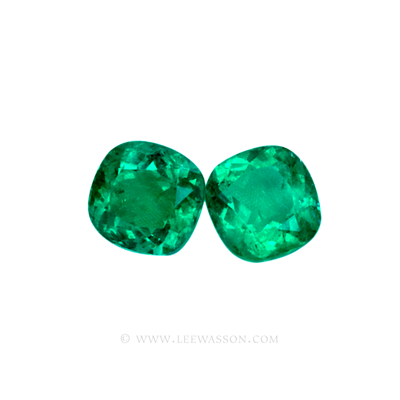 Colombian Emeralds, Pair of Cushion Cut Emeralds. From The Mine of Cosquez. Approx 25.00 Carat. Fine Emerald Jewelry & Loose Emeralds. leewasson.com - 2-10051