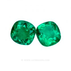 Colombian Emeralds, Cushion Cut Emeralds, set in 18k White Gold - leewasson.com - 10051