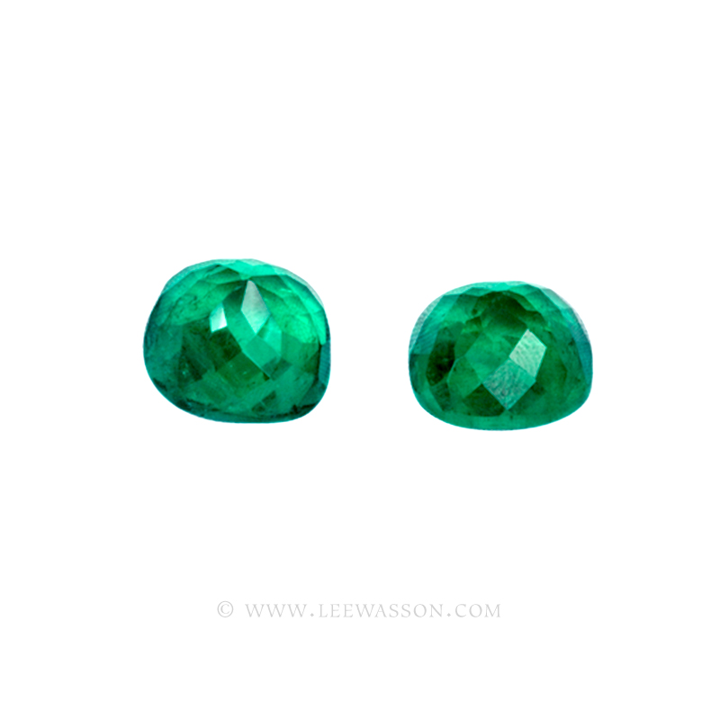 Colombian Emeralds, Pair of Cushion Cut Emeralds and Emerald Jewelry in 18k White Gold - leewasson.com - 4- 10051