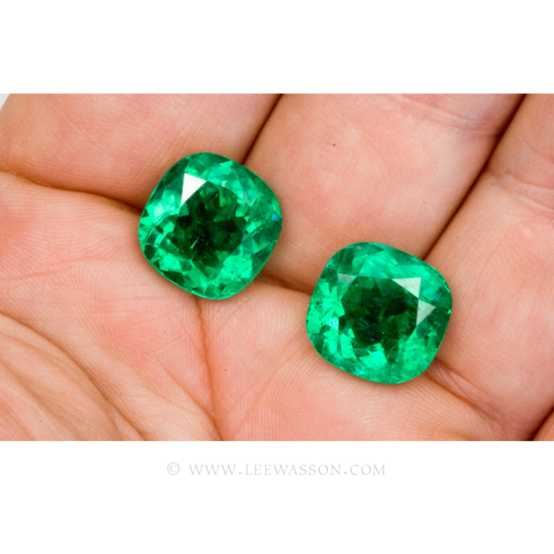Colombian Emeralds, Pair of Cushion Cut Emeralds. From The Mine of Cosquez. Approx 25.00 Carat. Fine Emerald Jewelry & Loose Emeralds. leewasson.com - 5 -10051