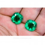 Colombian Emeralds, Pair of Cushion Cut Emeralds and Emerald Jewelry in 18k White Gold - leewasson.com - 6 - 10051