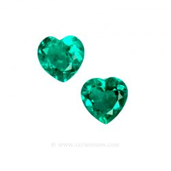 Colombian Emeralds, Heart Shape Emeralds, Pair of Heart Shape Emeralds set in 18k White Gold - leewasson.com - 1005
