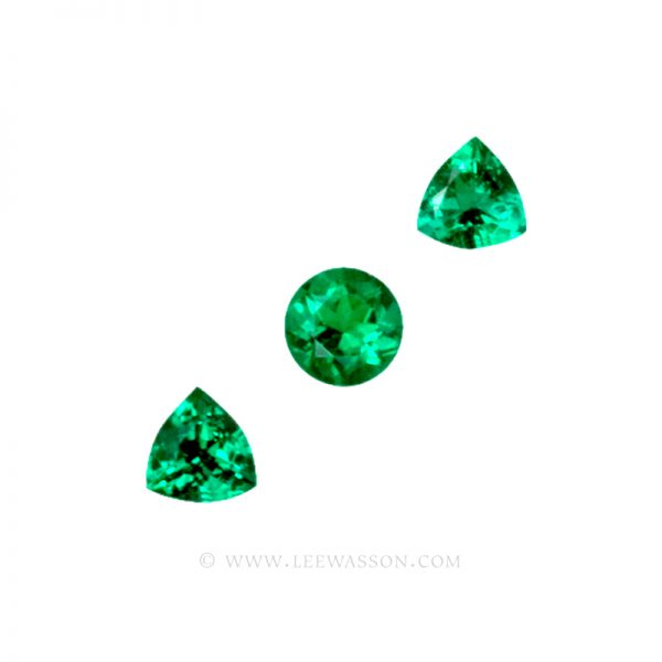 Colombian Emeralds, Trio of Trillion Cut Emeralds. leewasson.com - 1 - 1009