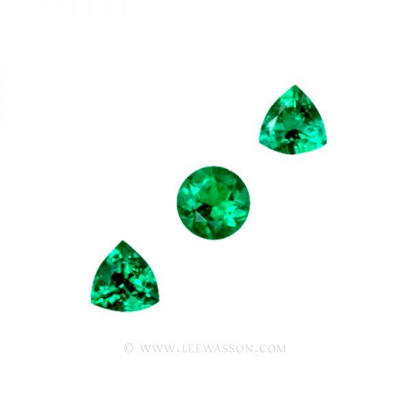 Colombian Emeralds, Trio of Trillion Cut Emeralds. leewasson.com - 1 - 1009