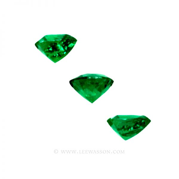 Colombian Emeralds, Trio of Trillion Cut Emeralds. leewasson.com - 2 - 1009allas