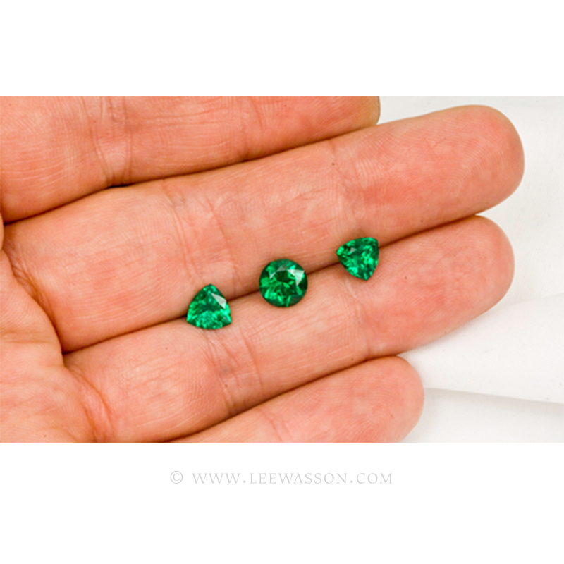 Colombian Emeralds, Trio of Trillion Cut Emeralds. leewasson.com - 3 - 1009
