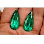 Colombian Emeralds, Pair of Tear Shape Emeralds. leewasson.com – 10015 -3