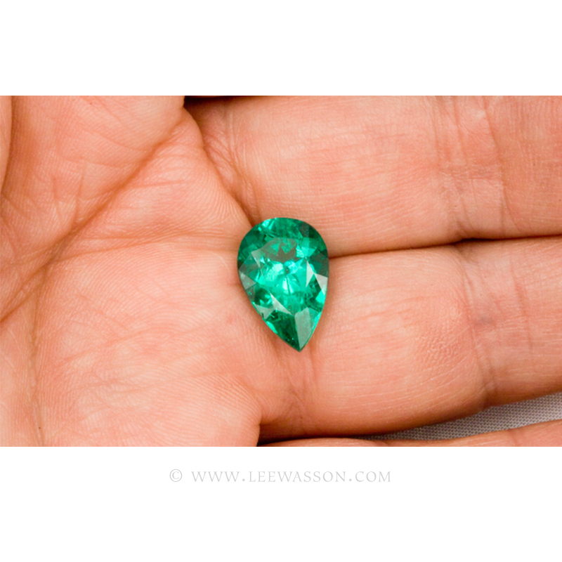 Colombian Emeralds, Tear Shape Emeralds Over 6.50 Carats of Bluish Green. leewasson.com -10038 -2