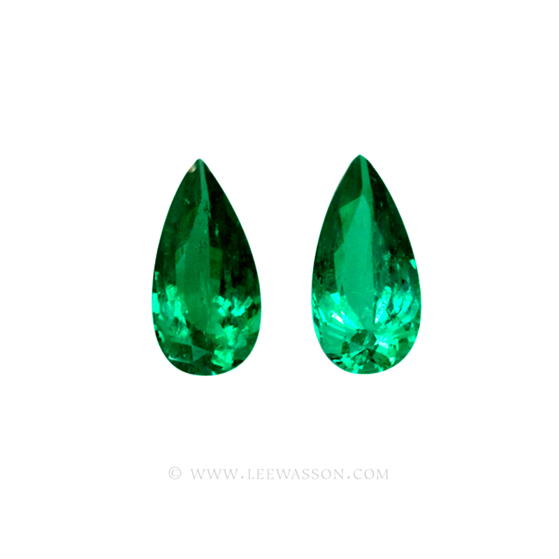 Colombian Emeralds, Pair of Tear Shape Emeralds, Over 10.00 Carats. leewasson.com – 10044 -2