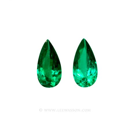 Colombian Emeralds, Pair of Tear Shape Emeralds, Over 10.00 Carats. leewasson.com – 10044 -1