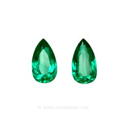 Colombian Emeralds, Pear Shape Emeralds, Pairs of Emeralds set in 18k White Gold - leewasson.com - 10046
