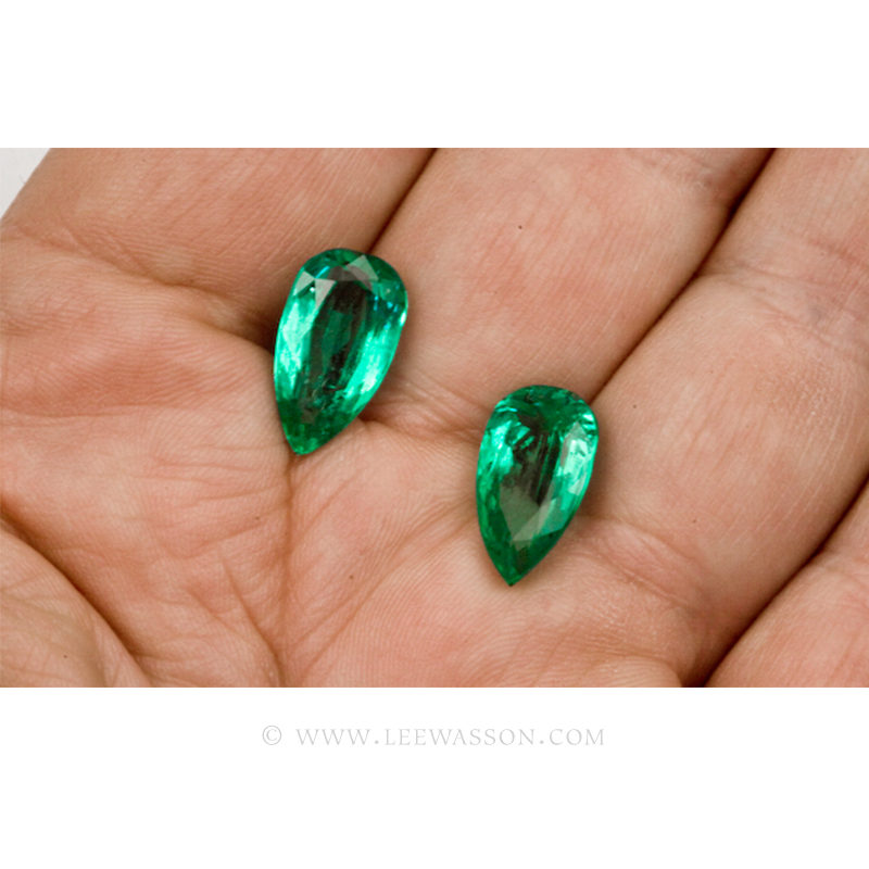 Colombian Emeralds - Pair of Pear Shape Emeralds Approx. 11.00 Carats. leewasson.com -10046 -3