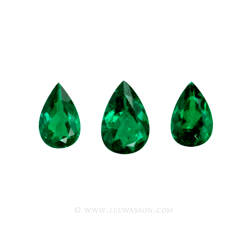 Colombian Emeralds - Trio of Pear Shape Emeralds, Approx. 14 Carat Emerald - leewasson.com -2- 10047