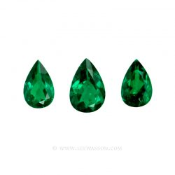 Colombian Emeralds, Pear Shape Emeralds, Trio of Emeralds set in 18k White Gold - leewasson.com - 10047