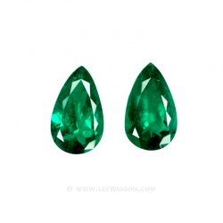 Colombian Emeralds, Pear Shape Emeralds, Pairs of Emeralds set in 18k White Gold - leewasson.com - 10054