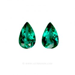 Colombian Emeralds, Pear Shape Emeralds, Pairs of Emeralds set in 18k White Gold - leewasson.com - 10055