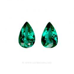 Colombian Emeralds, Pear Shape Emeralds, Pairs of Emeralds set in 18k White Gold - leewasson.com - 10055