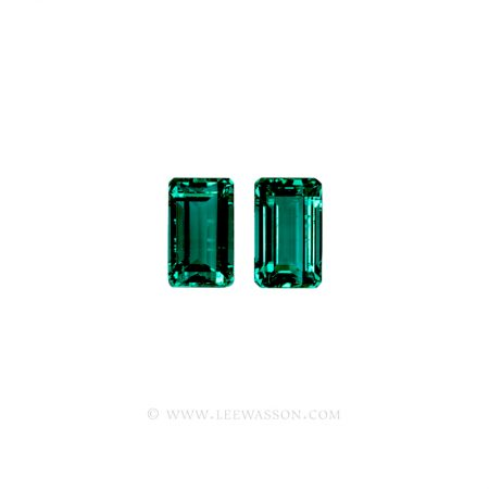 Colombian Emeralds, Emerald Cut Emeralds and set in 18k White Gold - leewasson.com - 1001