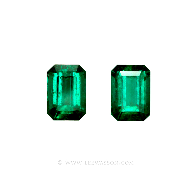 Colombian Emeralds, Pair of Emerald Cut Emeralds and set in 18k White Gold - leewasson.com - 3 - 10040