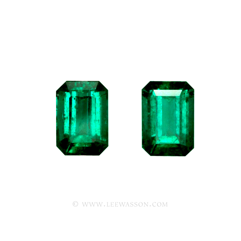 Colombian Emeralds, Pair of Emerald Cut Emeralds and set in 18k White Gold - leewasson.com - 1 - 10040