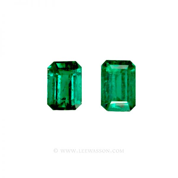 Colombian Emeralds, Pair of Emerald Cut Emeralds and set in 18k White Gold - leewasson.com - 2 - 10040