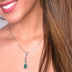 Colombian Emerald Pendant, Pear shape Emerald set in 18k White Gold Necklace 19559