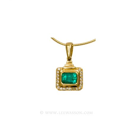Colombian Emerald Pendant, Emerald cut Emerald Necklace, 18k yellow Gold