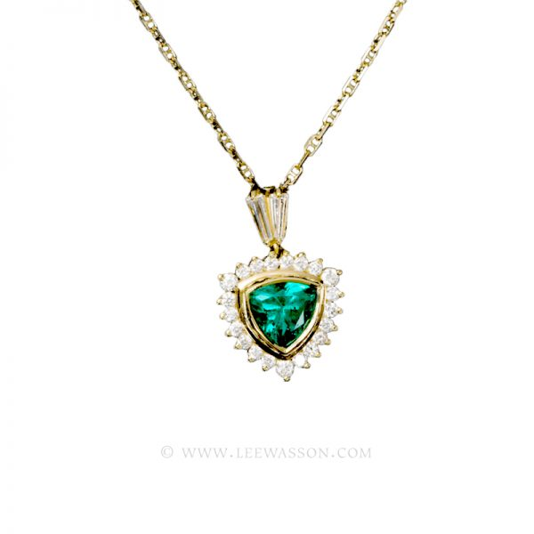 Colombian Emerald Pendant, Trillion cut Emerald Halo set in 18k Yellow Gold