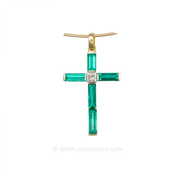 Colombian Emerald Pendant,  Baguette Cut Emeralds set in 18K Yellow Gold Cross Pendant