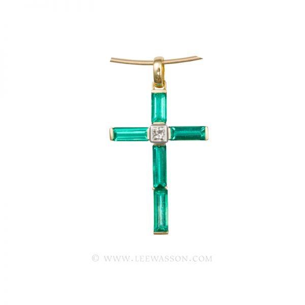 Colombian Emerald Pendant,  Baguette Cut Emeralds set in 18K Yellow Gold Cross Pendant