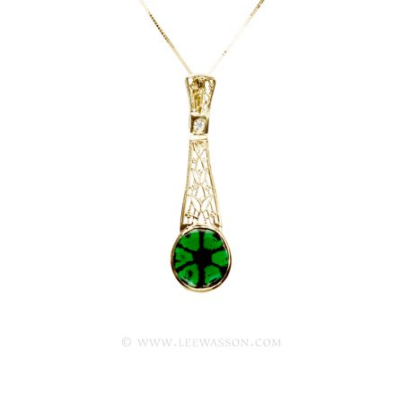Colombian Emerald Pendant, Trapiche Emerald Necklace set in 18k Yellow Gold