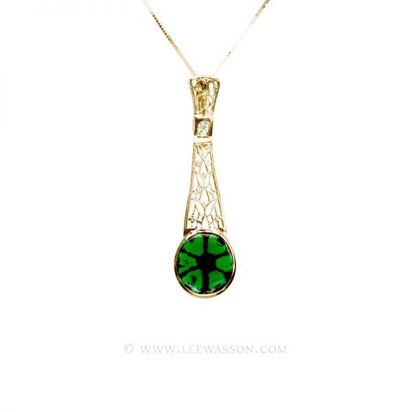 Colombian Emerald Pendant, Emerald Trapiche set in 18k Yellow Gold
