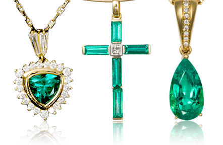 Colombian Emerald Yellow Gold Necklaces
