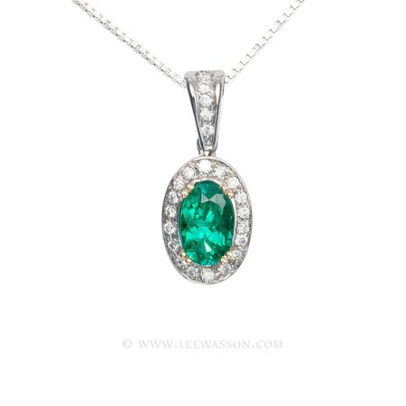 Colombian Emerald Pendant, Oval Shape Emerald Necklace set in 18K White Gold with Diamonds,
