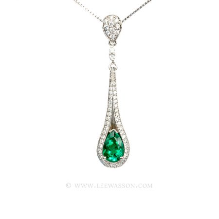 Colombian Emerald Pendant, Emerald Pear shape set in 18k White Gold Necklace