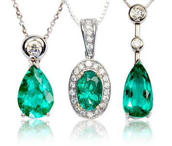 Colombian Emerald White Gold Pendants