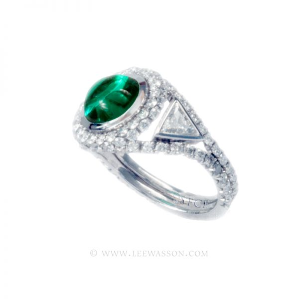 Colombian Emerald Ring, Cabochon Emerald Engagement Rings, 18k White Gold