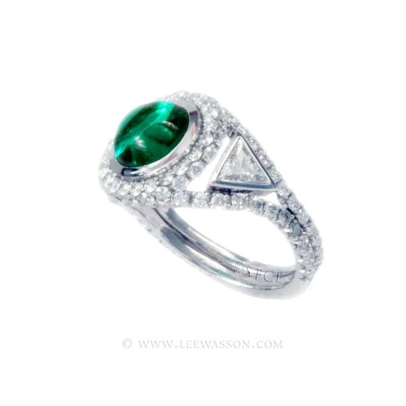 Colombian Emerald Ring, Cabochon cut Emeralds Engagement Rings set in 18k White Gold