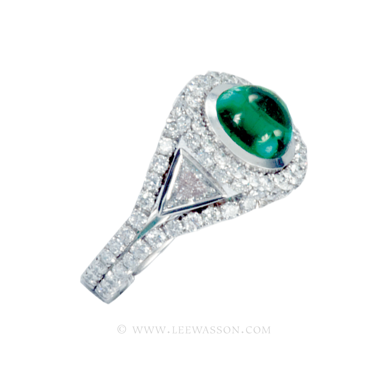 Colombian Emerald Cabochon Ring, Cabochon Cut emerald set in 18k White Gold. leewasson.com - 1a - 19607