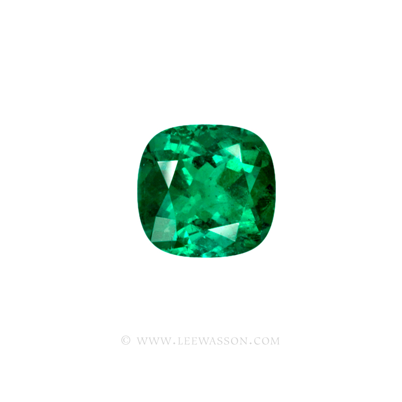 Colombian Emeralds, Cushion Cut Emeralds and set in 18k White Gold - leewasson.com - 10041 - 2