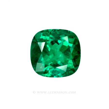 Colombian Emeralds, Cushion Cut Emeralds and set in 18k White Gold - leewasson.com - 10041 - 1
