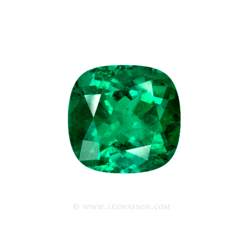 Colombian Emeralds, Cushion Cut Emeralds and set in 18k White Gold - leewasson.com - 1 - 10041