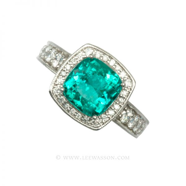 Colombian Emerald Ring, Cushion Cut Emerald Engagement Ring, 18k White Gold 19220